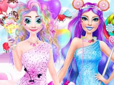 Barbie and Elsa in Candyland