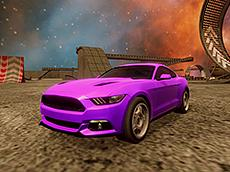 Crazy Car Stunts in Moon Cosmic Arena