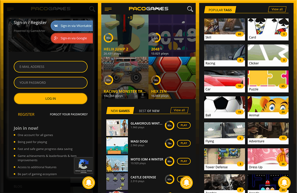 Pacogames app login and interface