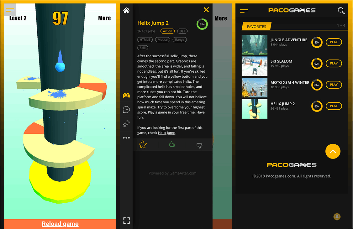 Pacogames games and favourites interface
