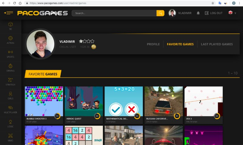 user account on PacoGames