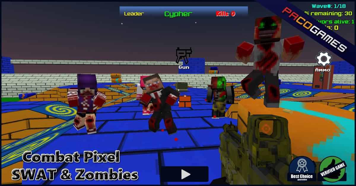 Combat Pixel SWAT Zombies Spiele Die Kostenlos Bei PacoGamescom - Minecraft zombie spiele kostenlos