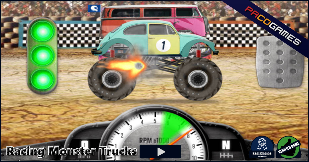 Racing Monster Trucks - Graj online za darmo na PacoGames.com!